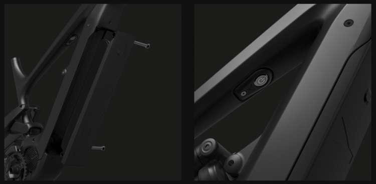 La batteria rimovibile e il pulsante di accenzione della YT Decoy