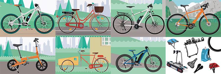 tipologia di ebike e accessori per bici elettriche