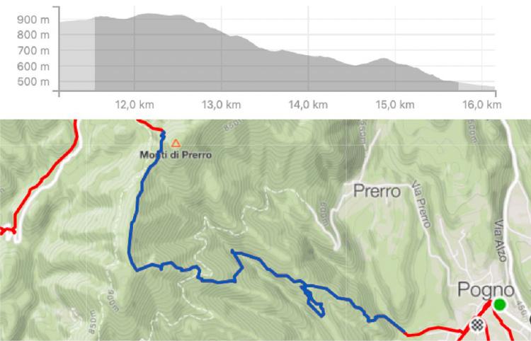 Altimetria e tracciato del primo e terzo stage della gara di e.Enduro di Pogno