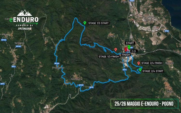 La cartina che indica il percorso della tappa di Pogno del campionato e-Enduro 2019