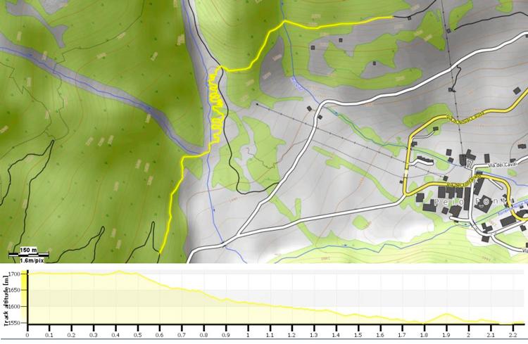 Il tracciato e l'altimetria della prova speciale PS3