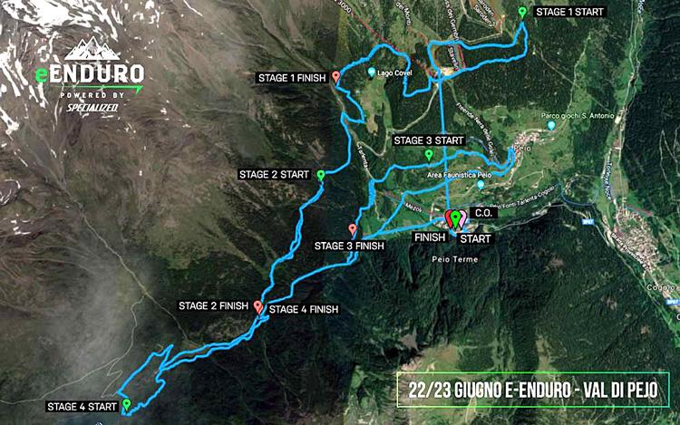 Il tracciato della quarta tappa di Pejio del Campionato e-Enduro 2019