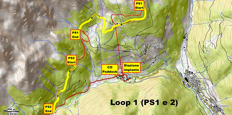 Il tracciato del primo loop della gara di e-Enduro di Pejo
