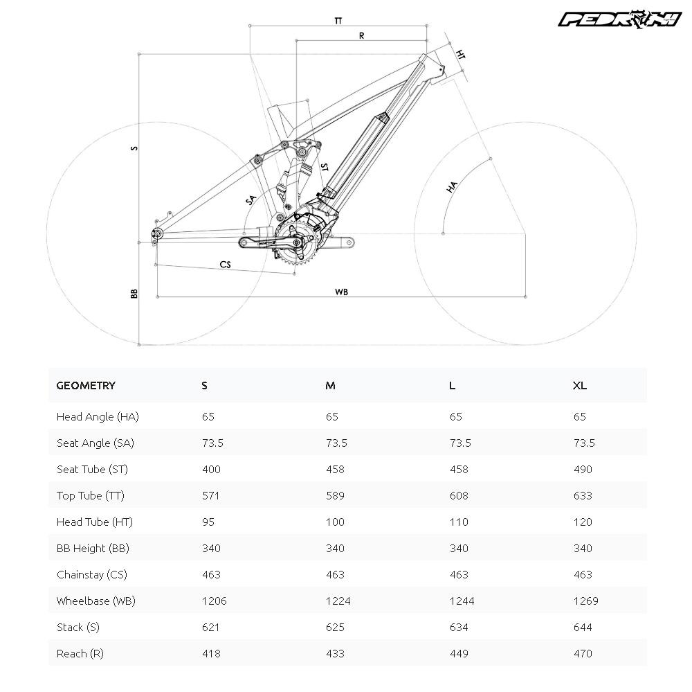 La tabella con le geometrie della Pedroni E-Pard 2020 per le varie misure