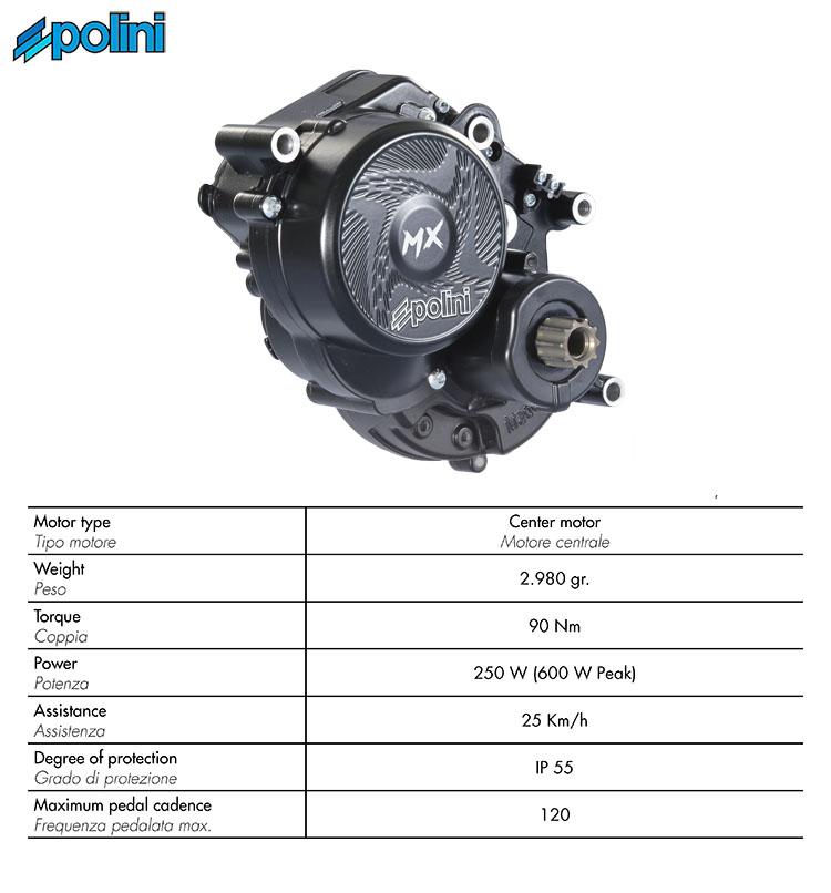 La tabella con le geometrie del motore Polini E-P3 MX 2020