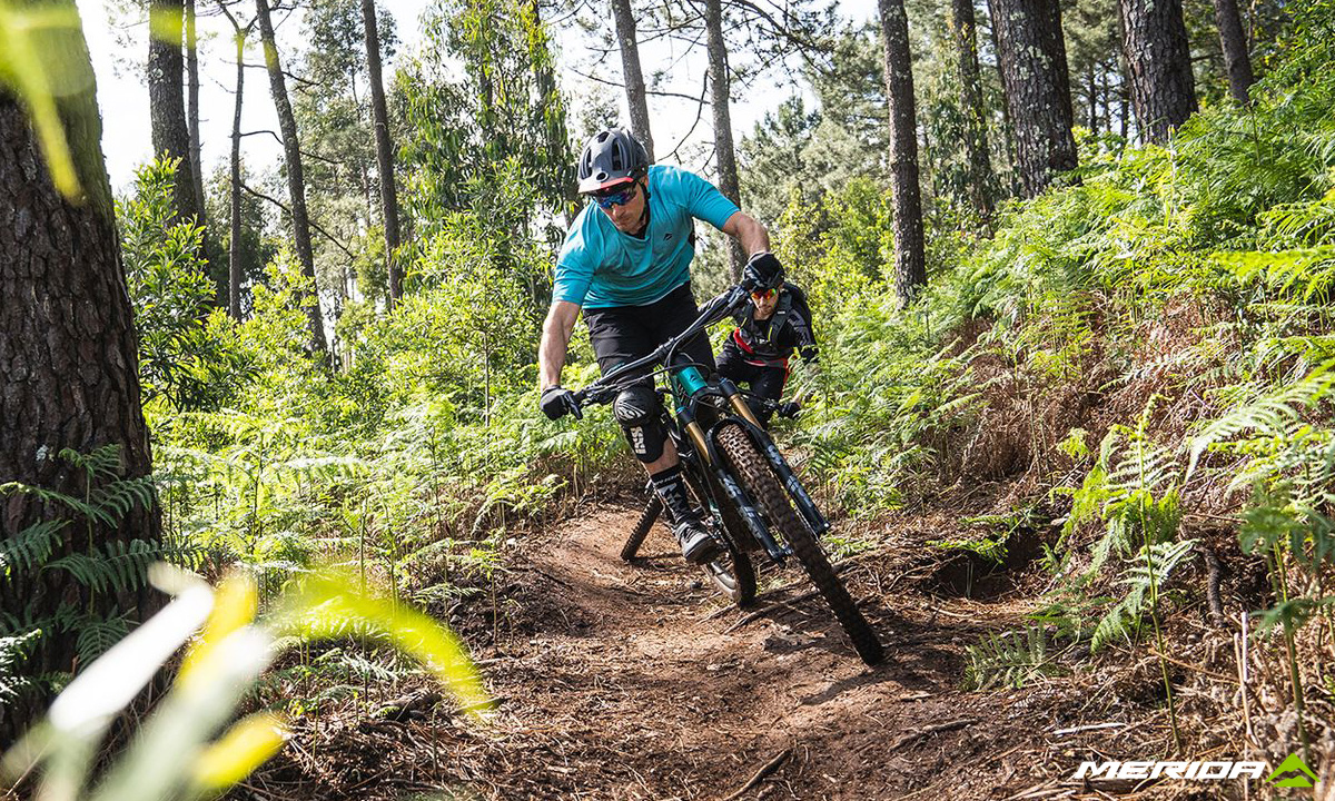 Due rider nel bosco in sella a mountain bike elettriche Merida eOne-Sixty 2020