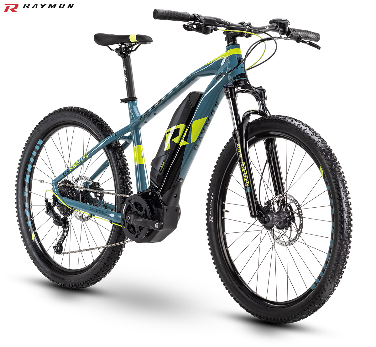 Una mountain bike hardtail elettrica R raymon HardRay E-Nine 4.0 gamma 2020