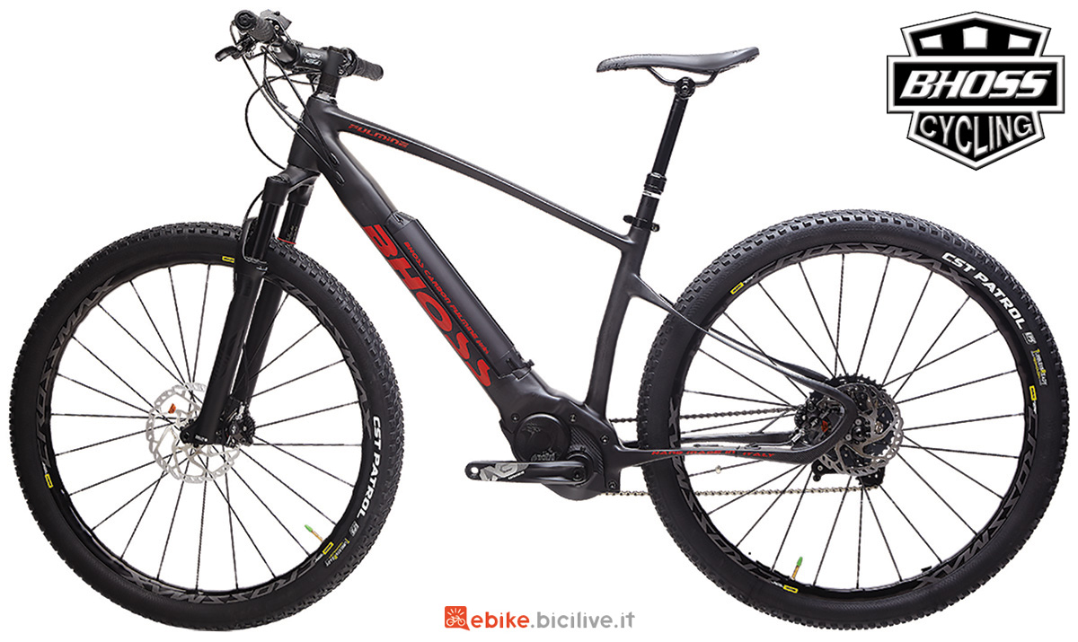 Una mtb a pedatala assistita hardtail Bhoss Fulmine Carbon gamma 2020
