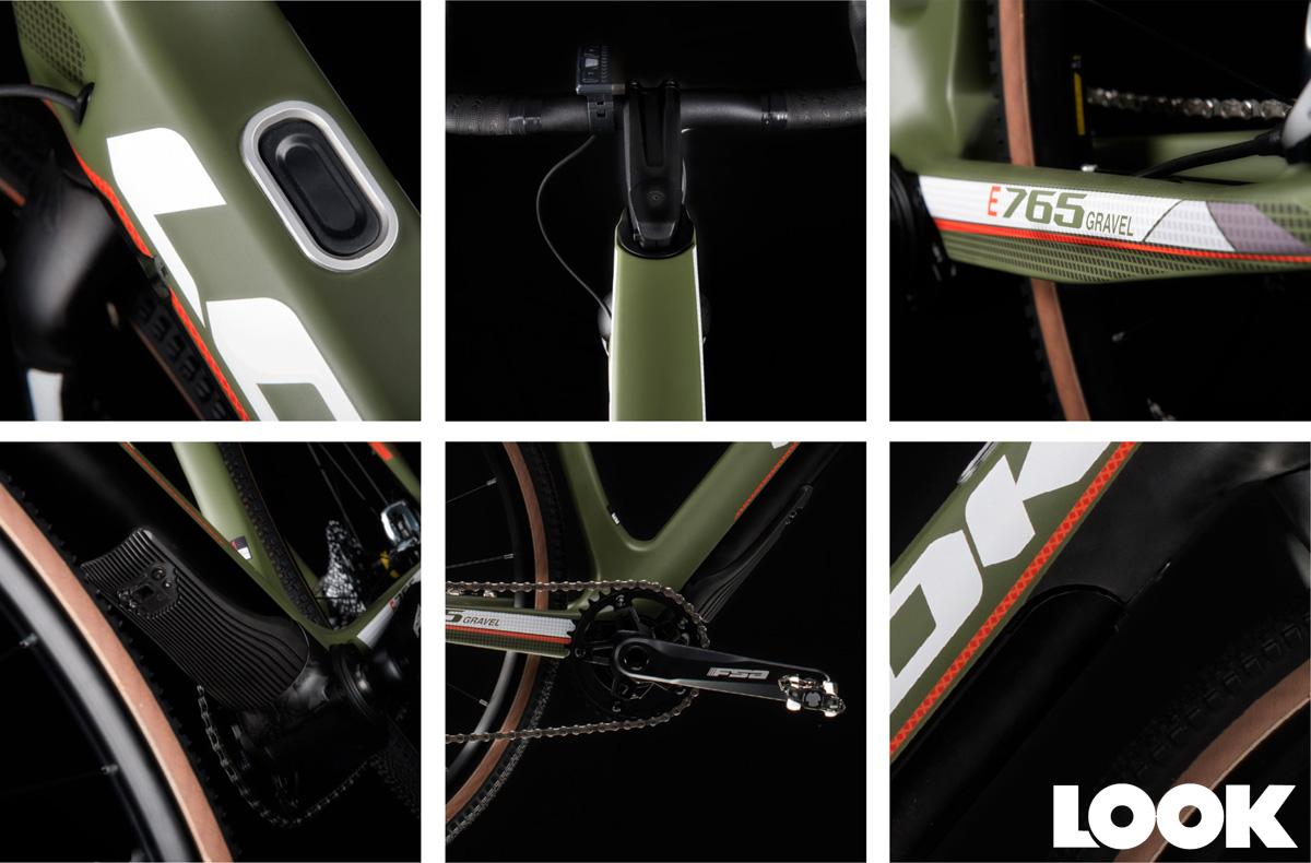 Dettagli del modello di e-Road per uso su sterrato e terreni sconnessi Look E-765 Gravel Green Mat