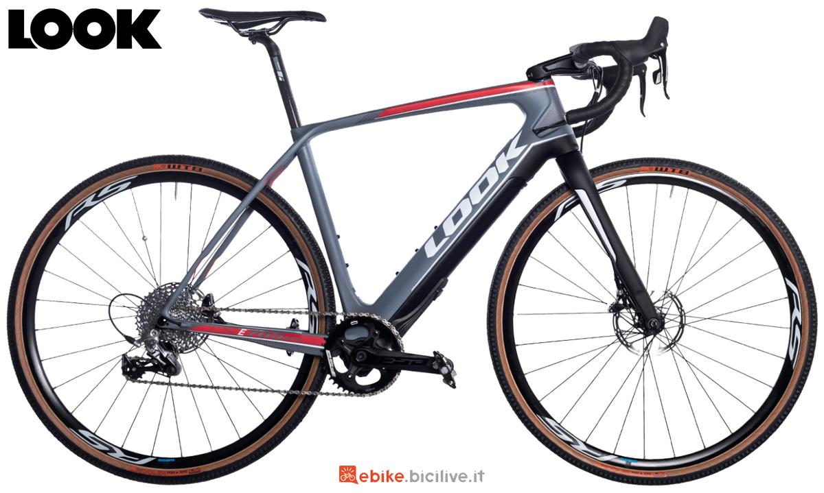 Una bici elettrica da gravel Look E-765 Gravel Grey Mat anno 2020