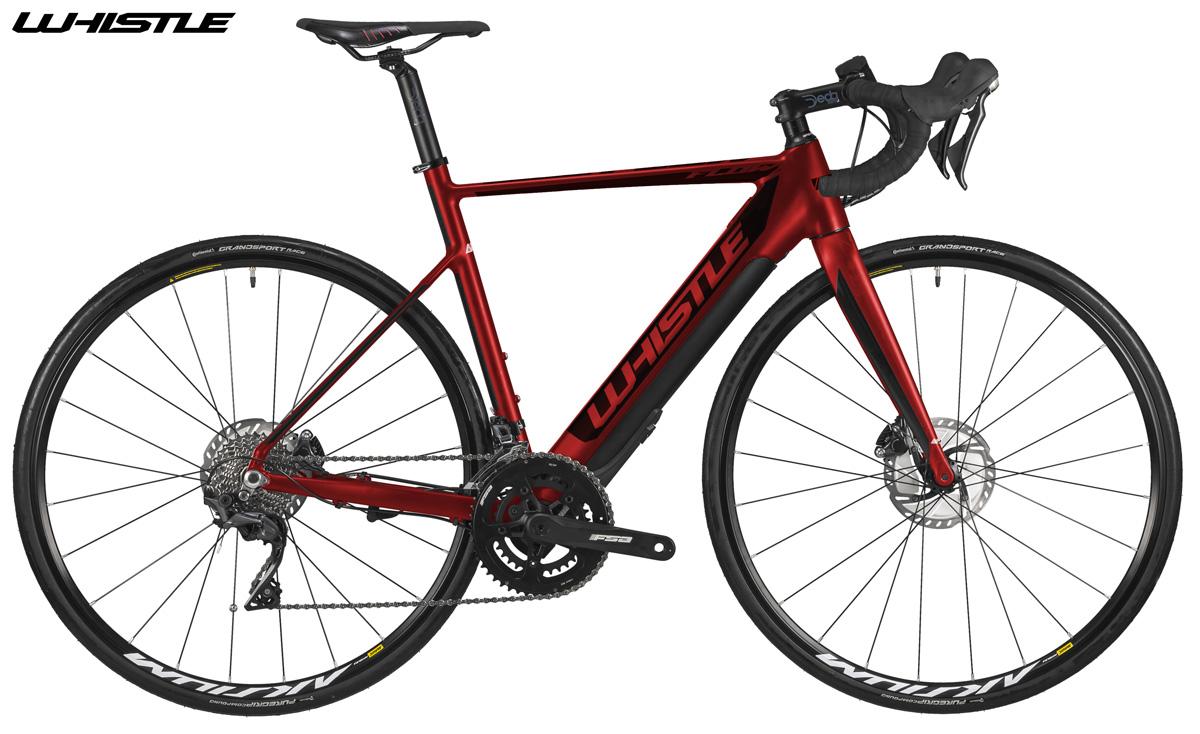 Una bici e-Strada a pedalata assistita Whistle Flow Alloy 2020 nella colorazione rossa