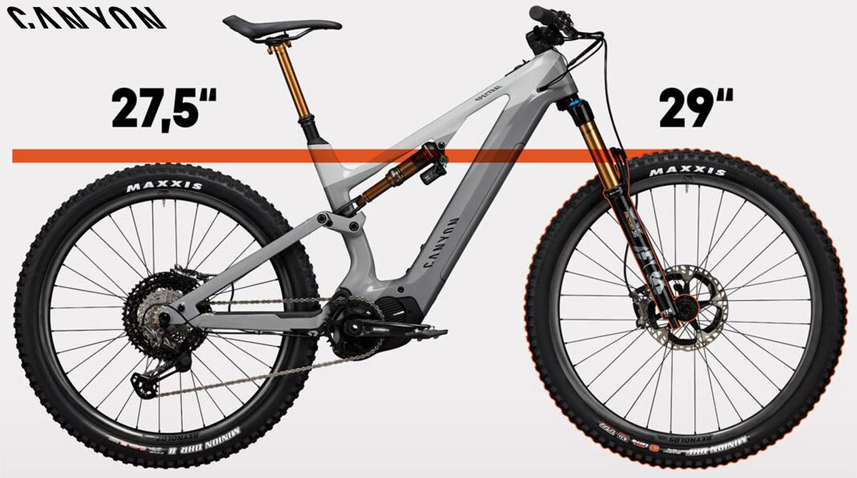 """Le ruote differenziate da 29"""" e 27,5"""" montate sulla ebike Spectral:ON 2020"""
