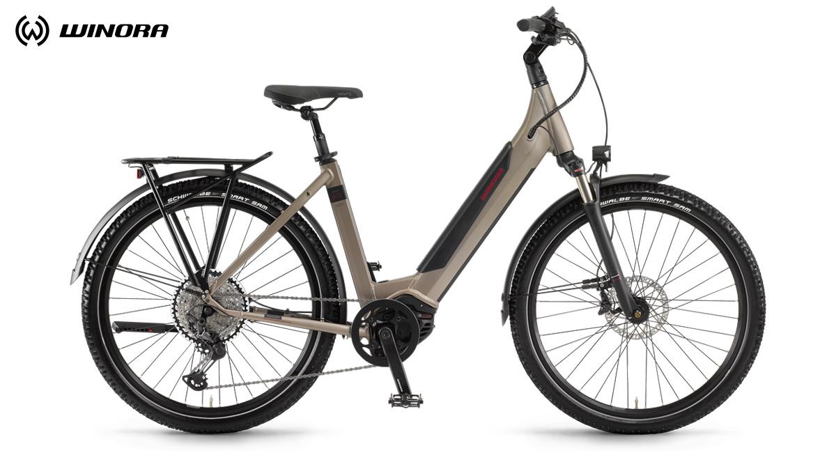 Una bici elettrica a pedalata assistita Winora Sinus iX12 2020 con telaio monotubo