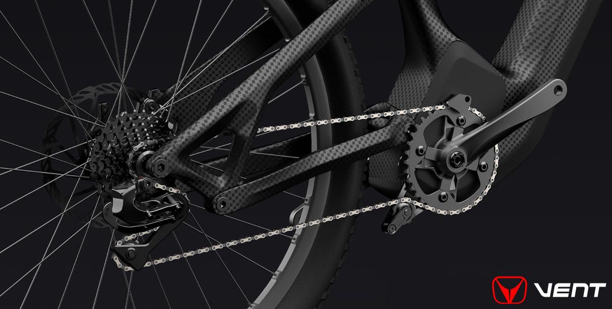 Il carro posteriore della mountain bike elettrica biammortizzata Vent LDV500 2020