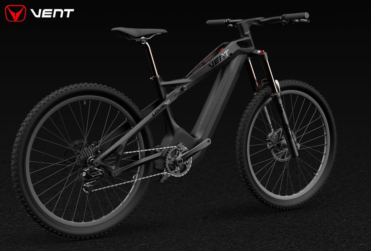 Una mountain bike elettrica biammortizzata Vent LDV500 2020