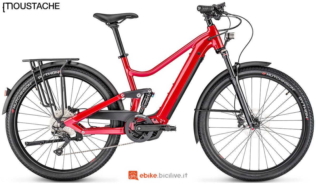 Una bici elettrica biammortizzata Moustache Samedi 27 Xroad FS 5