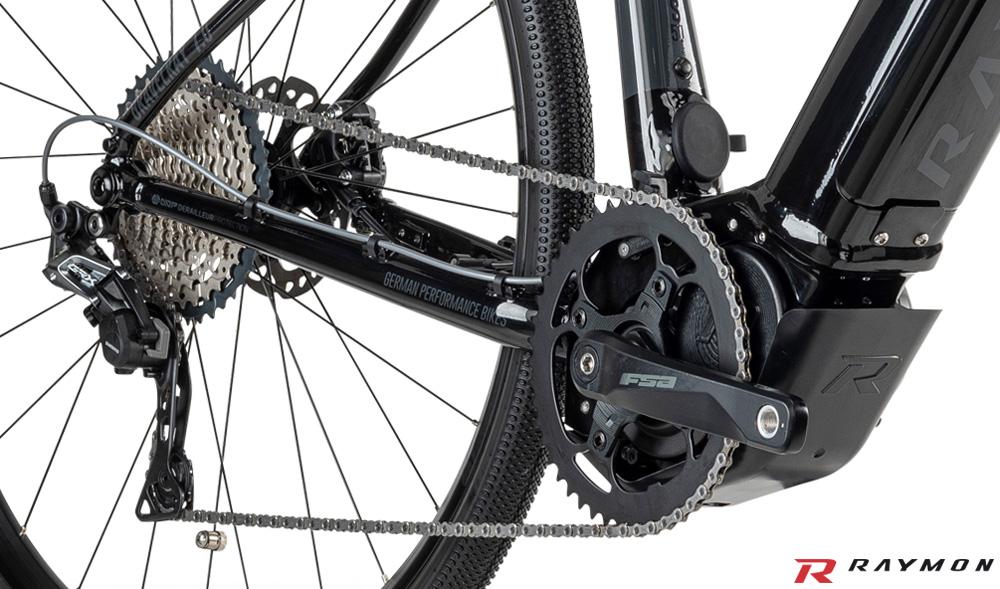 Il motore Yamaha e la trasmissione equipaggiate sulla e-bike R Raymon GravelRay E 7.0 2020