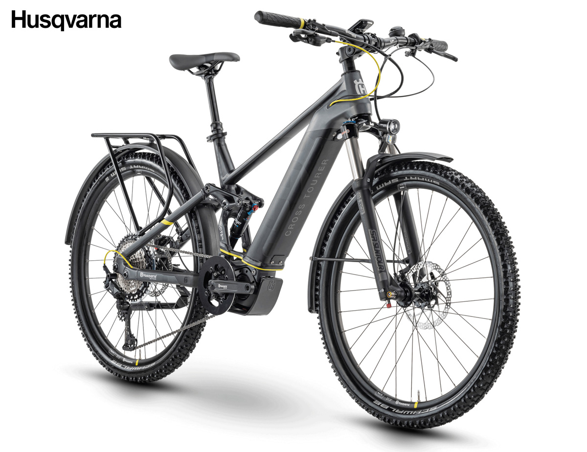 Una bici a pedalata assistita full suspension Husqvarna Cross Tourer 5FS 2020