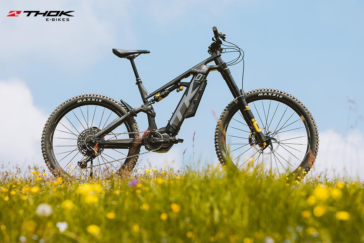 una bicicletta TK01 in un campo di fiori
