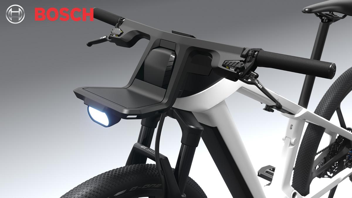 La parte anteriore della eBike Design Vision con il portapacchi e la luce LED