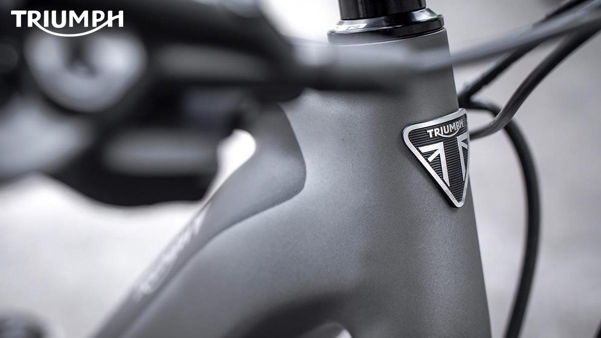 Un particolare del telaio della e-bike Triumph Trekker GT 2021