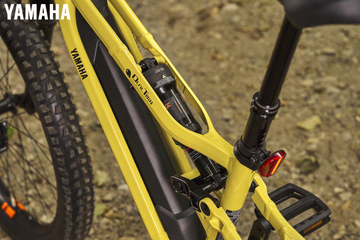"""Particolare del telaio della nuova ebike Yamaha YDX-Moro con soluzione """"Dual-Twin"""""""
