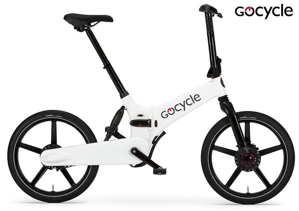 Una ebike pieghevole Gocycle GXi in colorazione bianca