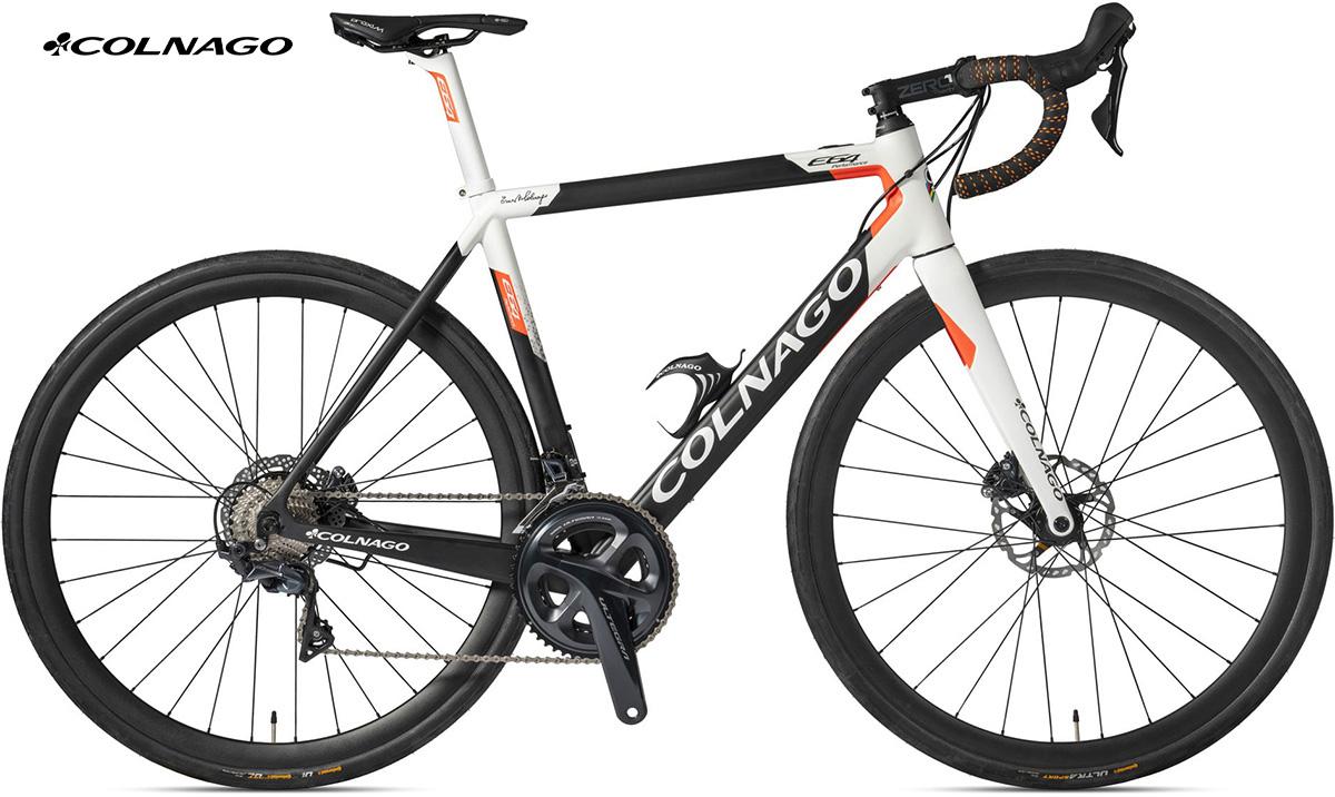 La bici completa Colnago E64 Ultegra in colorazione White-Orange