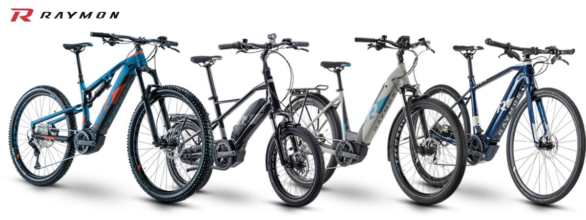 Quattro modelli in fila delle diverse categorie ebike della gamma R-Raymon 2021