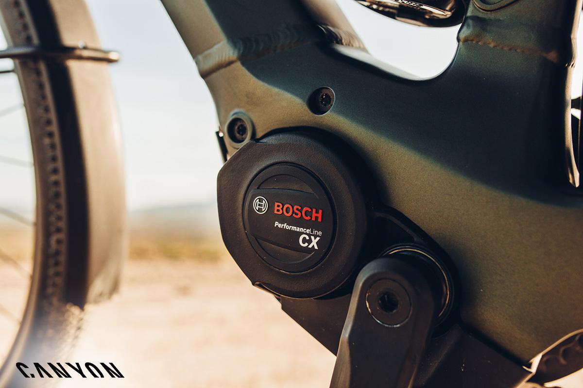 Dettaglio del motore Bosch Performance Line CX montato sulla Canyon Pathlite:ON