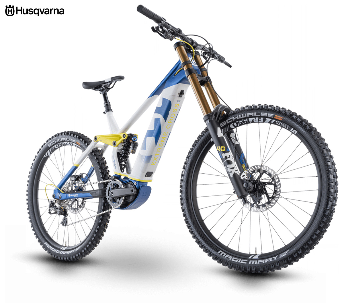 La nuova mountainbike elettrica Husqvarna Extreme Cross 10 2021 vista di tre quarti