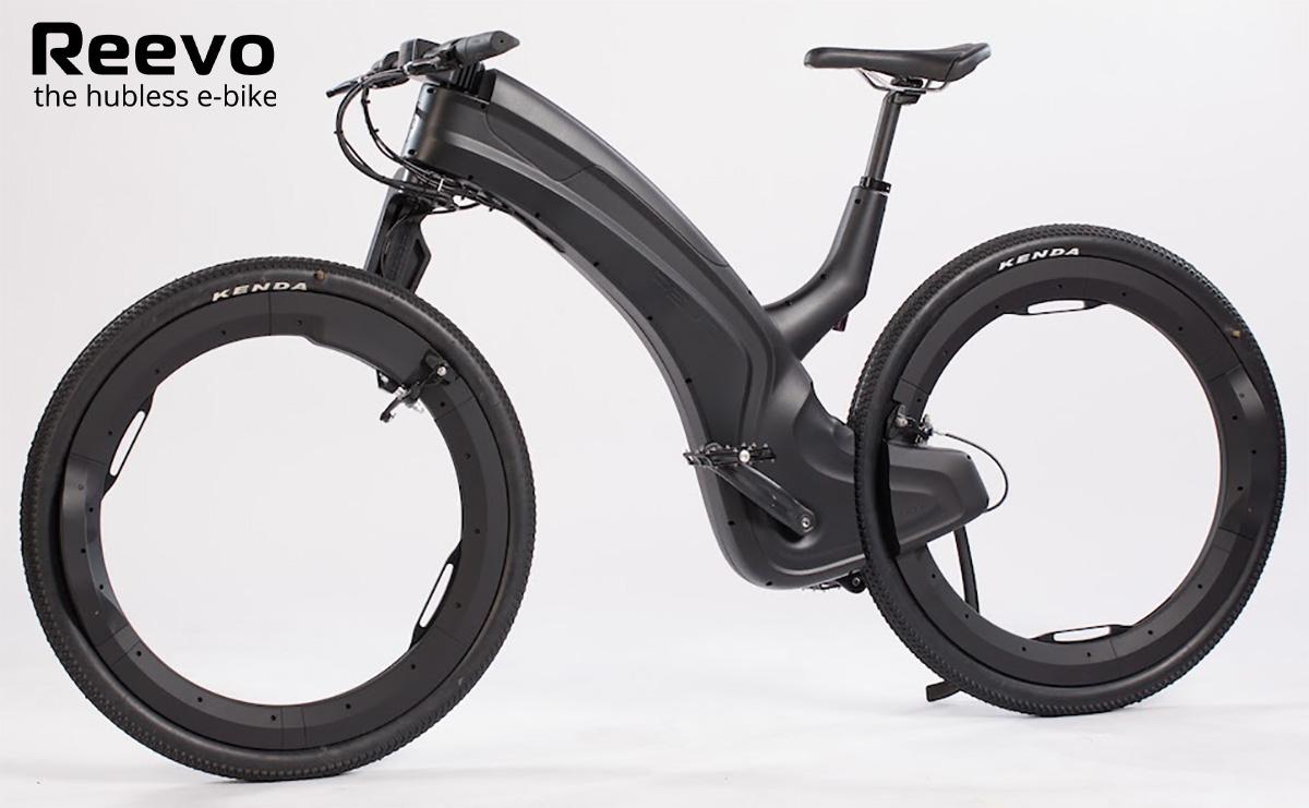 L'innovativa bici elettrica Reevo senza mozzi vista lateralmente
