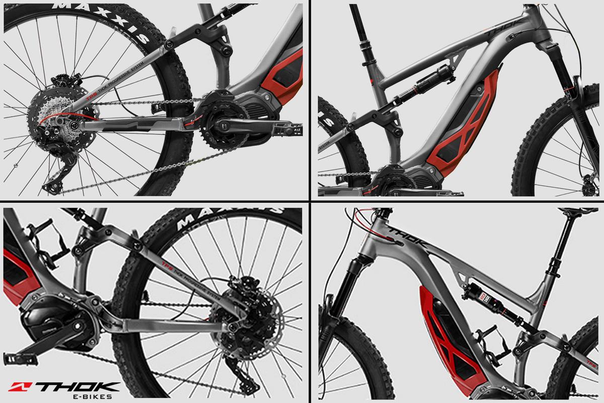 Quattro foto di una bicicletta a pedalata assistita THOK