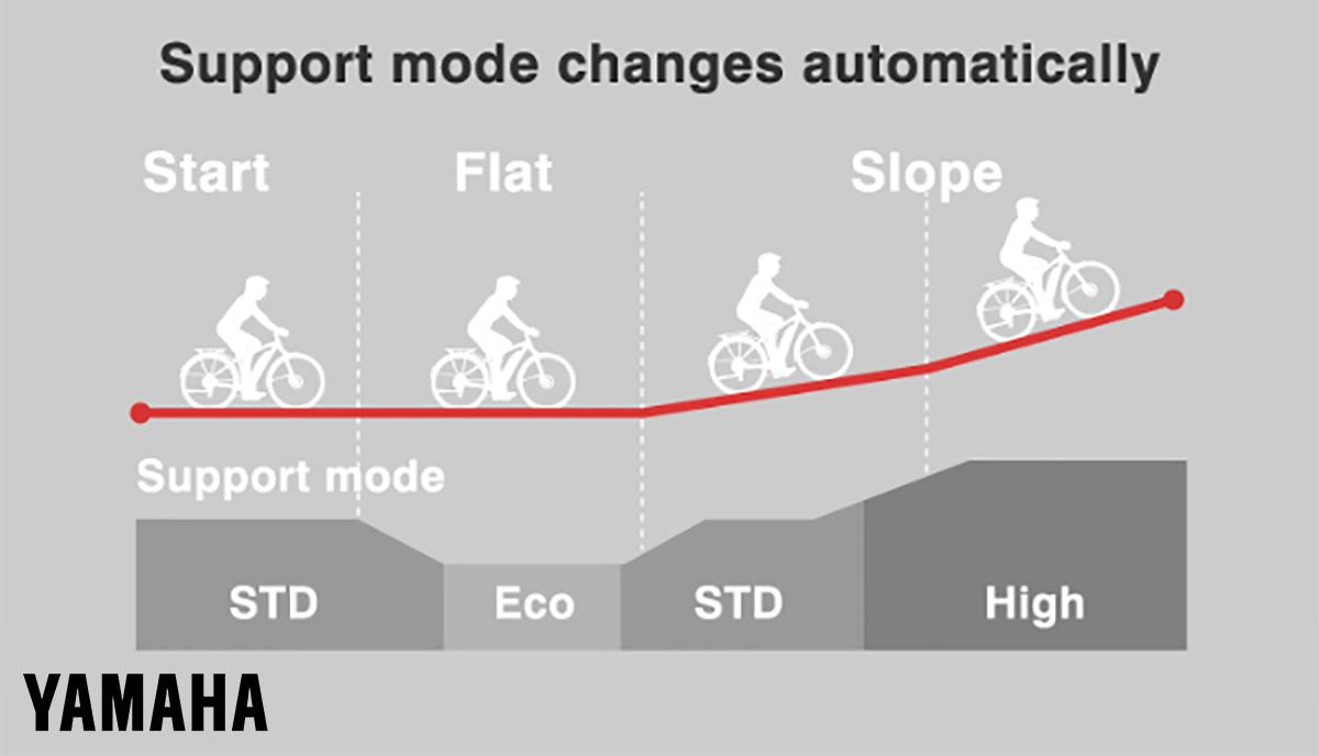 Un grafico illustra il variare della modalità di assistenza automatica in funzione della pendenza affrontata