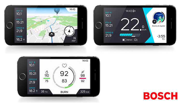 Tre schermate dell'App COBI su uno smartphone