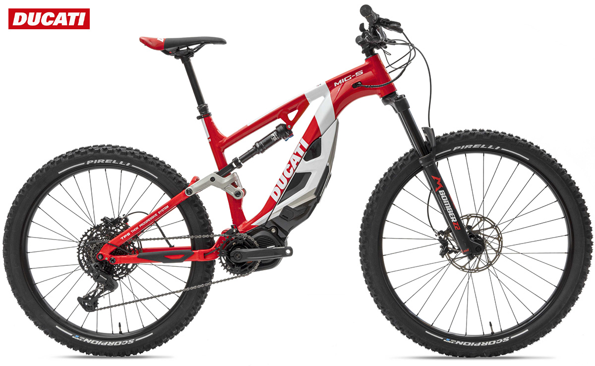 La nuova mountain bike elettrica Ducati Mig-S 2021 vista lateralmente