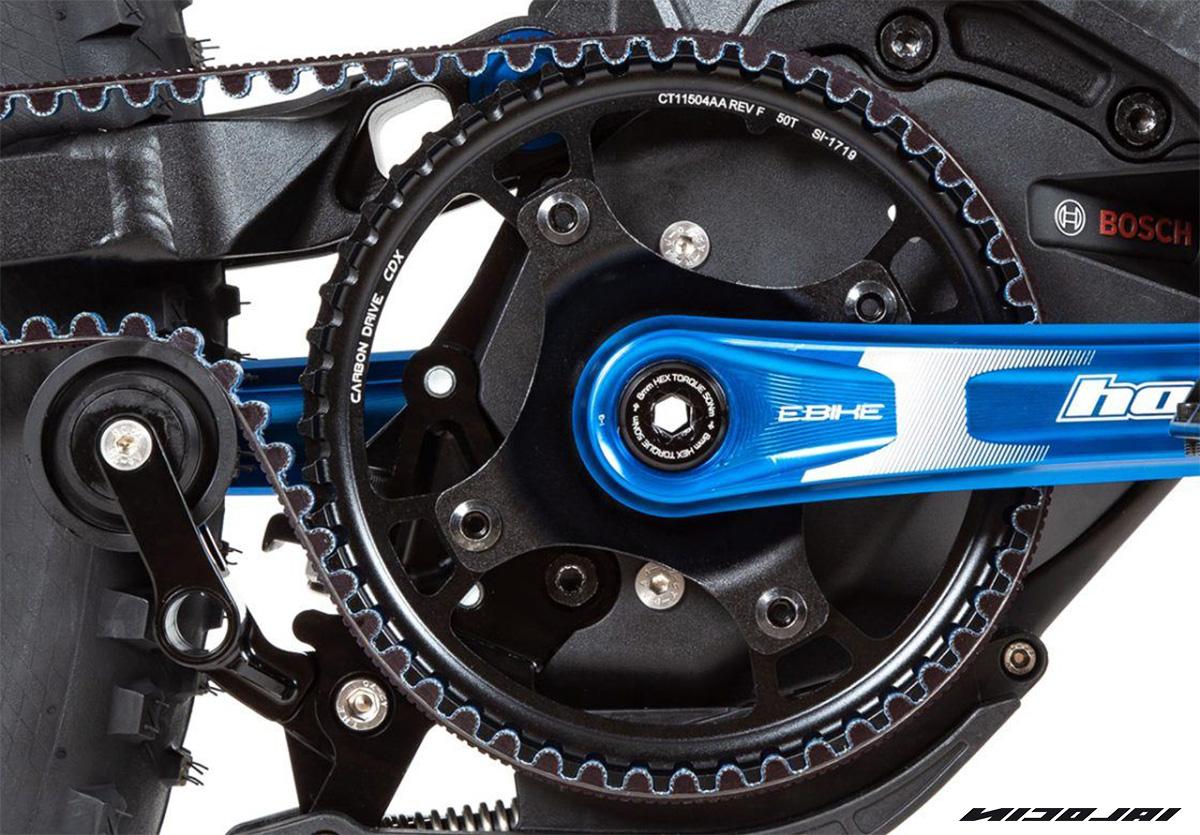 La trasmissione a cinghia presenti su alcuni modelli ebike Nicolai Eboxx 2021