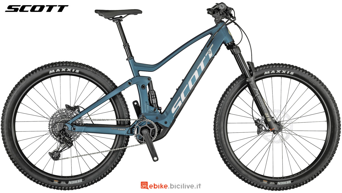 Una ebike full suspension Scott Strike eRide 930 Blue gamma 2021