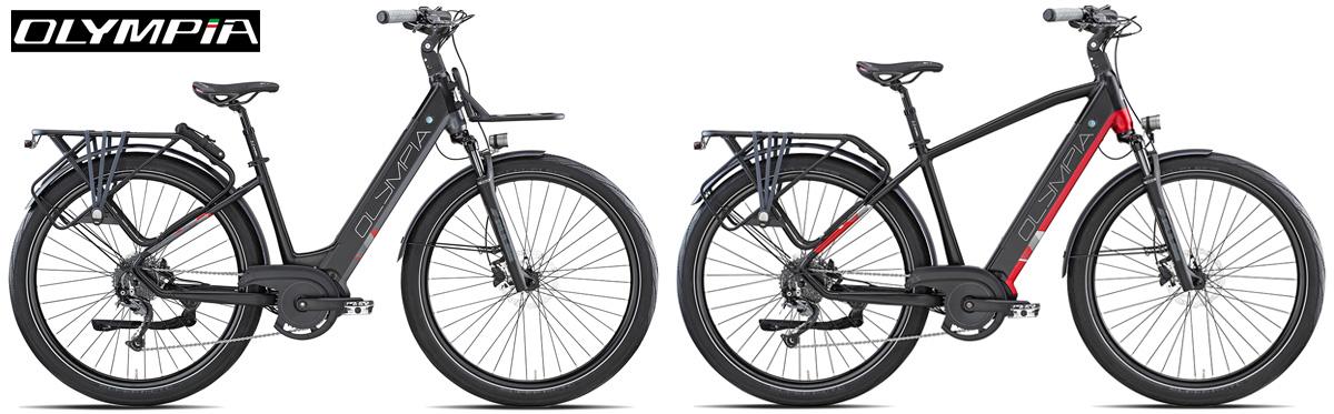Le due versioni del telaio della nuova bici elettrica da trekking Olympia Super Magnum 2021