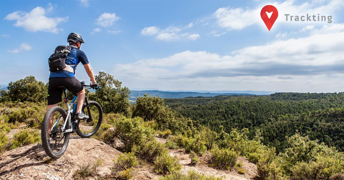 Un ragazzo in sella a una mountain bike elettrica fermo davanti ad ammirare il panorama