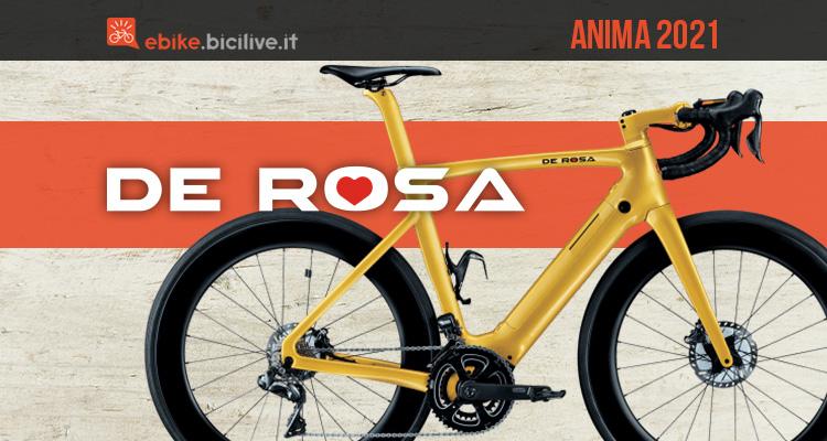 La nuova ebike da corsa De Rosa Anima 2021 in colorazione fashion gold