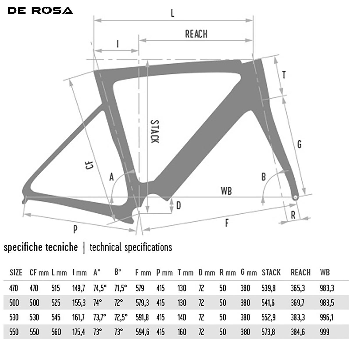 Una tabella indica le misure specifiche di ogni parte della De Rosa Anima