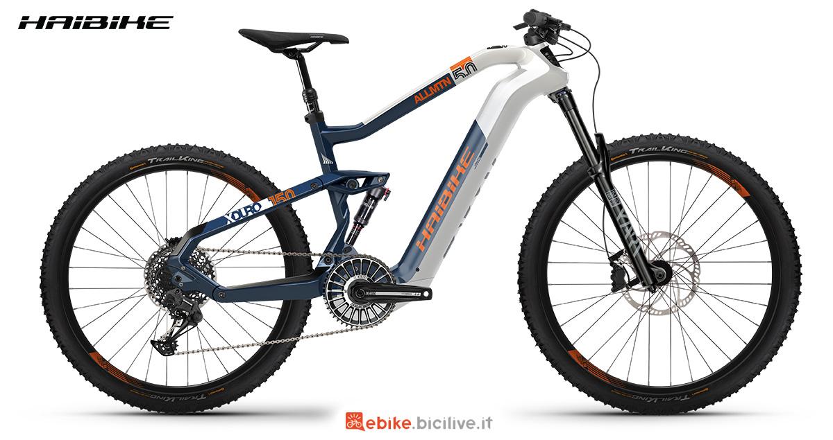 La nuova mountainbike elettrica Haibike Xduro Allmtn 5.0 2021 vista lateralmente