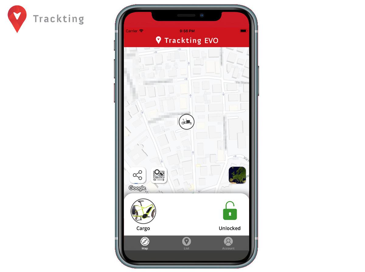 Dettaglio di una schermata dell'App di Trackting EVO con veicolo fermo e modalità allarme non inserita