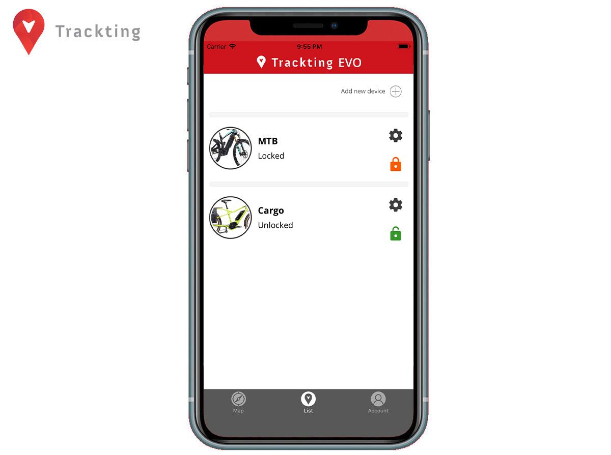 La schermata di Trackting per bloccare e sbloccare le ebike