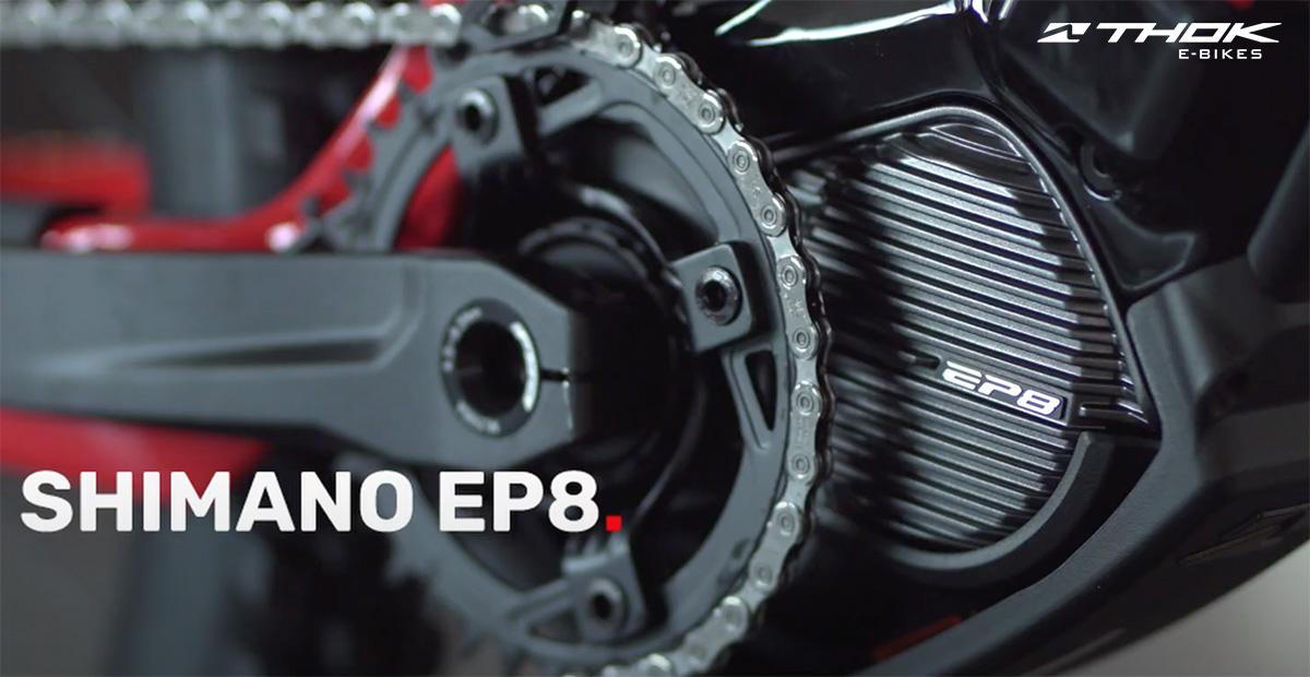 Dettaglio del motore Shimano EP8 che spinge la nuova emtb full Thok TH01-R 2021