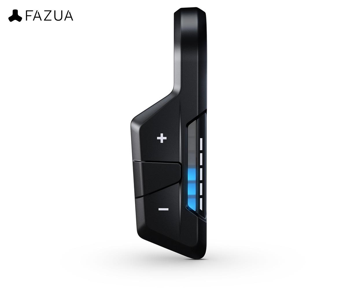 Il Fazua Remote rX in colorazione nera visto frontalmente e con i LED accessi