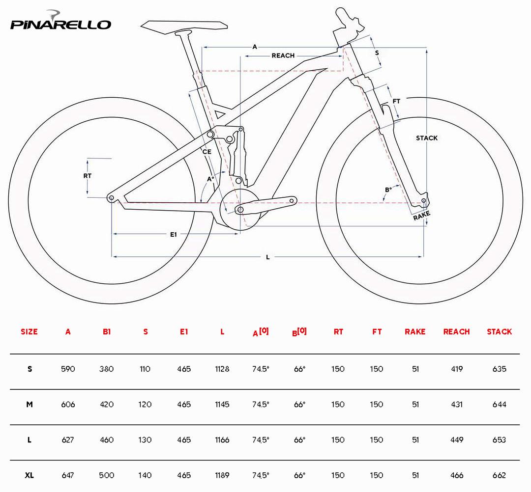 Tabella con le misure e le geometrie della mountain bike elettrica full suspended Pinarello Dust 3 2021