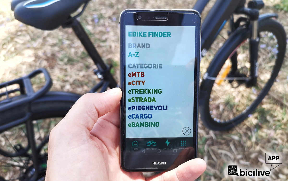 La schermata dell'ebike finder della BiciLive APP per trovare la bici elettrica adatta ad ogni esigenza