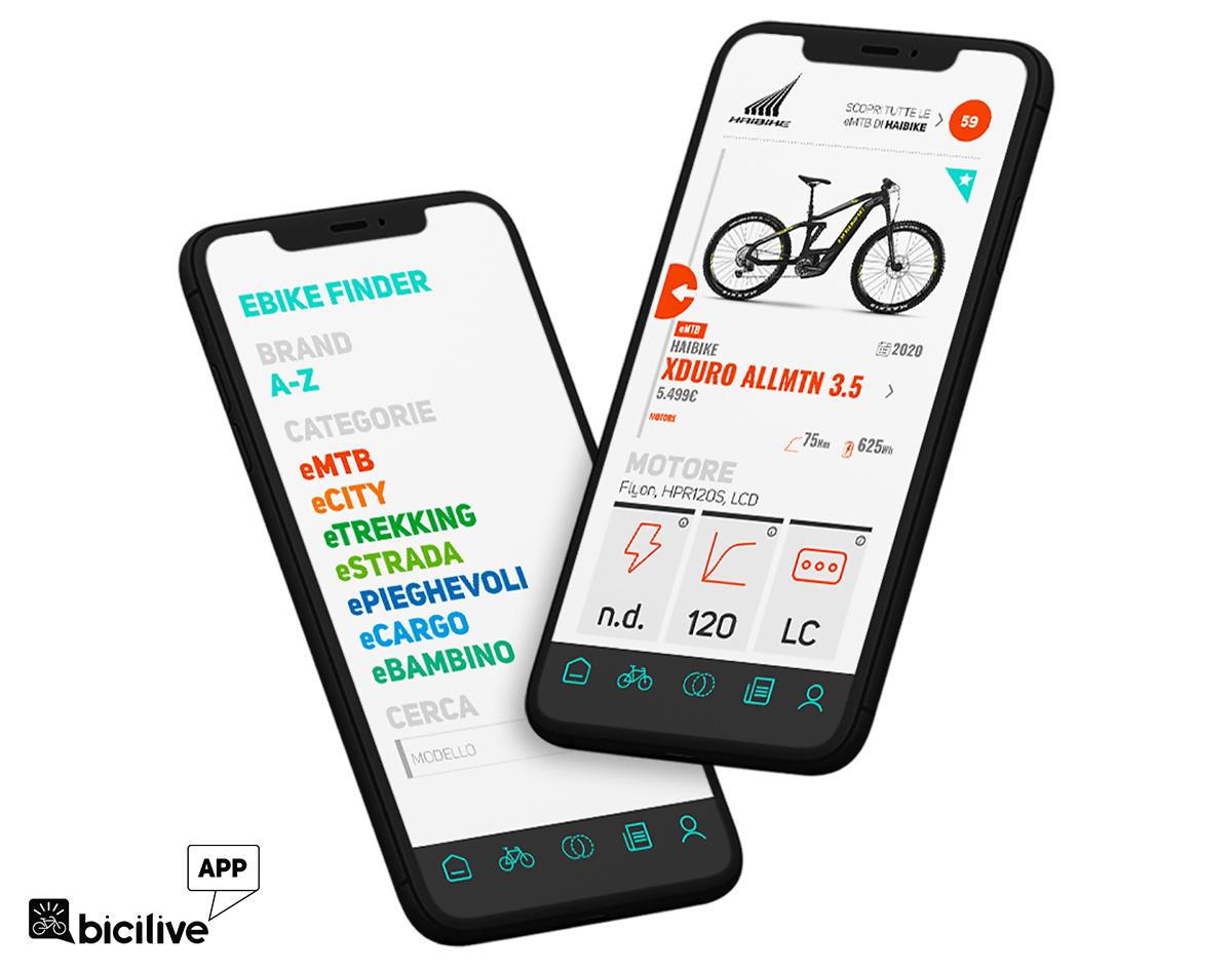 Delle schermate della nuova app BiciLive per trovare l'ebike adatta ad ogni esigenza